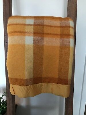 Beautiful 100% Woollen Orange,Cream& Brown Laconia blanket 190cm x 230cm SB/KS