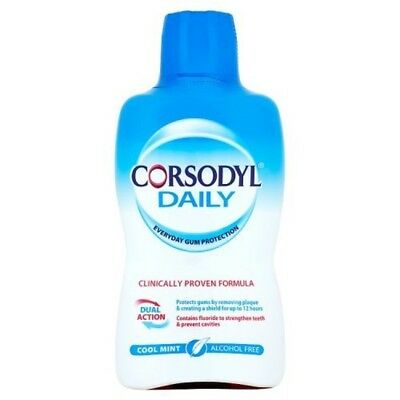 Corsodyl Daily Alcohol Free Mouthwash Cool Mint 500 ml