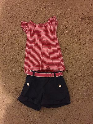 Toddler girls' size 2T pink and white shorts outfit