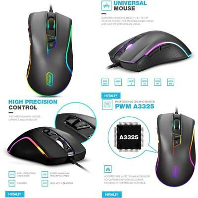 HIRALIY F300 RGB Backlit Wired Gaming Mouse 9 Programmable Buttons Optical Mouse