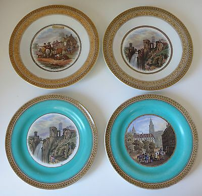 "Four 19th cent. PRATT ware plates 8.5"" wide some unusual scenes 2 marked No.123"