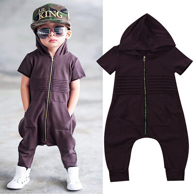 UK Stock Newborn Baby Boys Hooded Zipper Romper Jumpsuit Playsuit Outfit Clothes