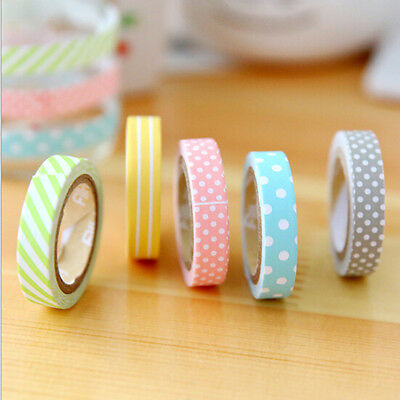 5PCS/Pack Candy Color Rainbow Striped Dots Washi Tape DIY Decorative Tape Color