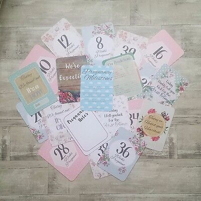 Vintage/Shabby chic Pregnancy Milestone Cards | baby shower gift | baby cards