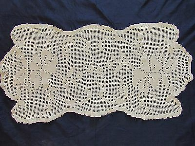 """Vintage Antique Hand Crocheted Doily Tablecloth Flowers Fancy 12"""" 40s Estate"""