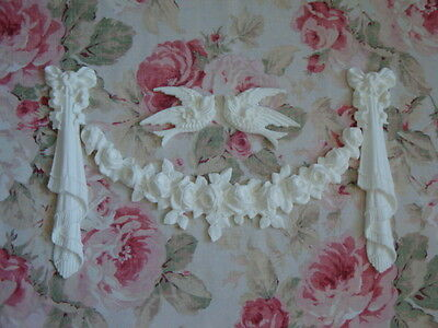 Shabby Chic French Rose Swag Birds Bow Drop St Furniture Applique Architectural