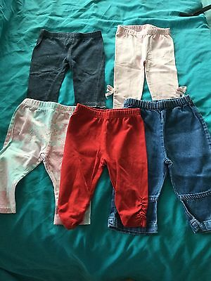 Bundle of baby girls leggings size 3-6 months various colours styles