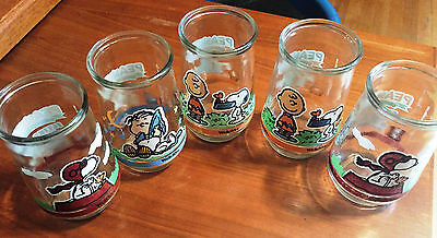 5 Vintage Peanuts Snoopy Juice Glasses Welch's
