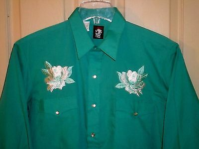 M-20 *NEW* KARMAN medium green embroidered western square dance shirt Sz 16, 34