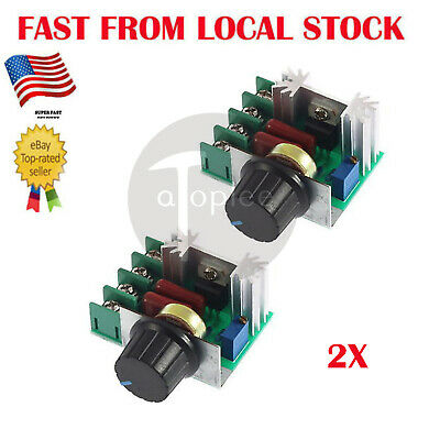 2Pc 2000W 220V AC SCR Electric Voltage Regulator Motor Speed Control Contrin US