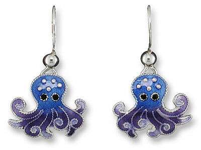 Octopus Dangle Earrings, Zarah, Sterling Silver, Hand Painted, Underwater - CUTE