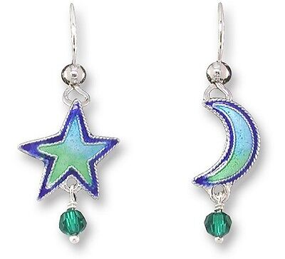 Star & Moon Dangle Earrings, Zarah, Silver Plated, Hand Painted, Whimsical