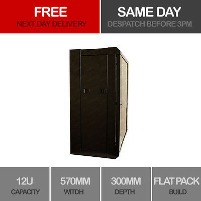 """12U 19"""" Network Cabinet Rack Wall Mounted 570*300mm Black Data Comms Patch Panel"""