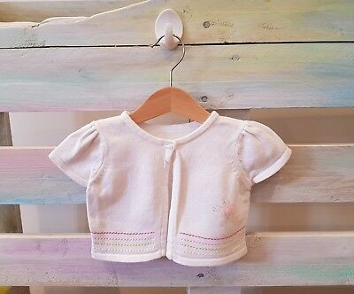3-6 month baby girls white cardigan capped sleeve button up