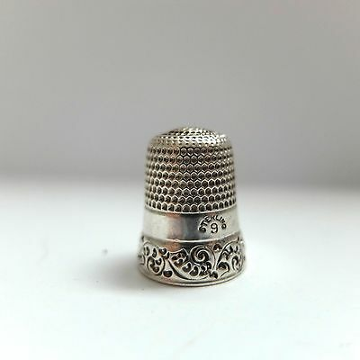 Antique Sterling Silver Thimble Scroll Sides Size 9