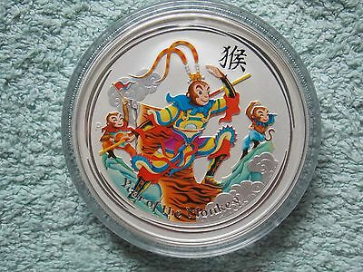 2016 Australian Silver Lunar Series II Colorized the Monkey King 5 oz