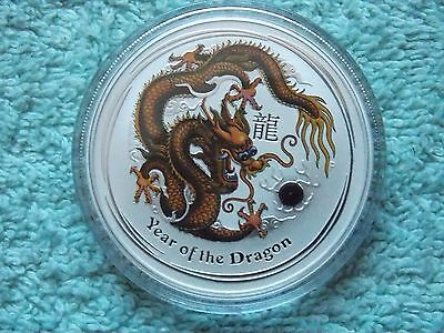 2012 Australian Silver Dragon Lunar Series II Colorized BU 1 OZ Brown/Black
