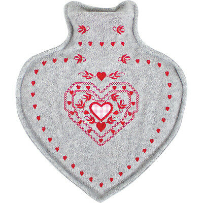 Heart Shape Hot Water Bottle With Felt Cover Warm Winter Pain Release