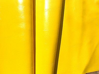Authentic 60s 70 S Vintage Vinyl Fabric Bright Yellow Upholstery