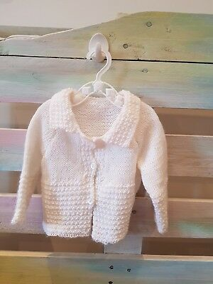 6-9 month unisex white hand made knitted vintage cardigan boy girl