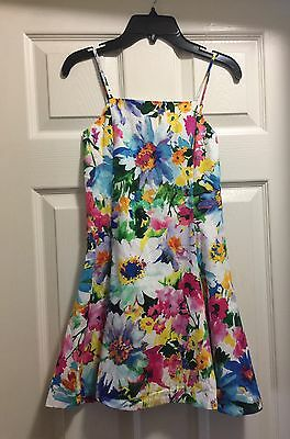 Girls Ralph Lauren Size 8 White sun Dress With Flowers Stunning!
