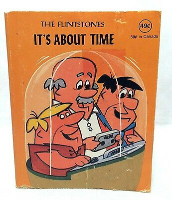 "Hanna-Barbera 1977 Flip Book Flintstones It's About Time 4.5"" Fred Wilma Bam Bam"
