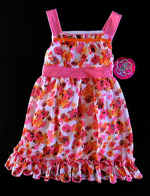 New ZOEY GIRL Pink Floral Sleeveless Chiffon Spring Easter Party Dress Size 5 5T