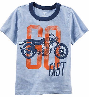Carter's Boys Short Sleeve Motorcycle Graphic Ringer Tee; Blue (3 Months)