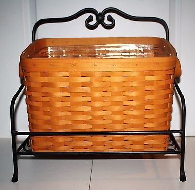 Longaberger Wrought Iron Newspaper Stand And Newspaper Basket/protector~Euc