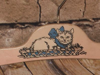 Vintage Child's,Doll,Infant Pink Wood Clothes Hanger W/Kitty Cat