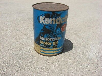 Vintage Kendall Motorcycle Motor 1 full  Quart Oil  never open
