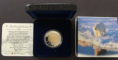1996 Canada $2 Polar Bear bimetallic Proof box and COA - Lot of 2 coins