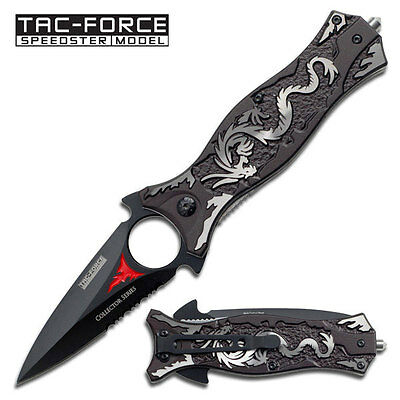 Tac-Force Spring Assisted Pocket Knife Hunting Outdoor Grey Dragon - Tf-707Gy