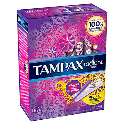 Tampax Tampons with Radiant Plastic Applicators Unscented, Regular (16 tampons)
