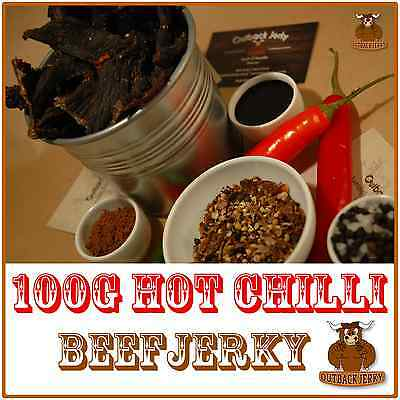 BEEF JERKY HOT CHILLI 100G Hi PROTEIN LOW CARBOHYDRATE PRESERVATIVE FREE SNACK