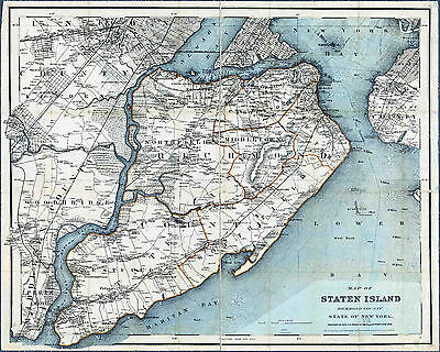 Map of New York Staten Island 1889  Print 8 X 10