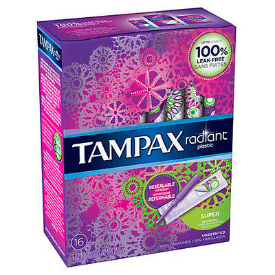Tampax Tampons with Radiant Plastic Applicators Unscented, Super(16 tampons)