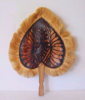 Vintage Wood & Straw African Native Style Hand Fan Heart Shaped Wall Hanging Art