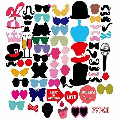 Photo Booth Selfie Props Masks Fun 77 Pcs Colourful Party Wedding Love Happy