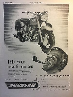 Sunbeam 1954 - Original 1954 A4 B/w Motorcycle Advert