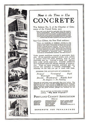 1917 Portland Cement: Now is the Time to Use Concrete (26061) Print Ad