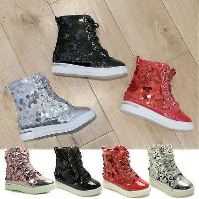 Girls Childrens Kids Lace Up Zip Sequin Casual Trainer Pump Ankle Boots Size