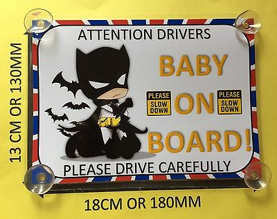 Baby Dressed As Batman Baby On Board Car Laminated Sign