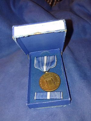Vintage Korean War Service Medal and Ribbon In Box by Medallic art COo.