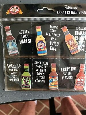 Disney Parks Pins Bottle Hot Sauce Set Of 6 Mr Toad Anger Maleficent new