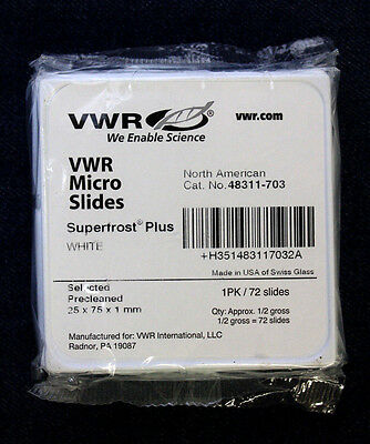 [1 Pack of 72] VWR 48311-703 Super Frost Plus White Micro Slides 25 x 75 x 1mm