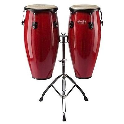 Stagg CWM-R-DA 10 + 11 Wooden Congas w/ adjustable double stand - Red