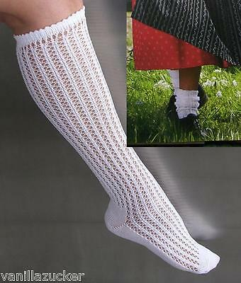 NEW German Austrian Ladies Traditiional Dirndl Openwork Knee Socks White L