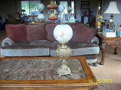 Ornate Brass & Porcelain Rare Antique Electric Oil Lamp Made In Us Of America