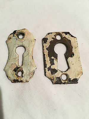 2  LG Antique vintage Cast Iron Primitive Keyhole Covers Escutcheon -TWO items